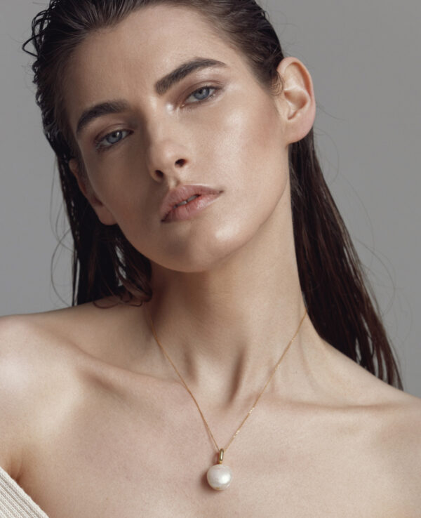 ELISE BAROQUE SIMPLE NECKLACE IN CULTURED ROUND PEARL1