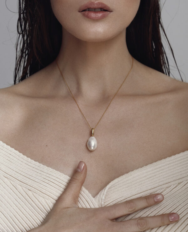 HARLEY BAROQUE SIMPLE NECKLACE IN CULTURED DROP PEARL1