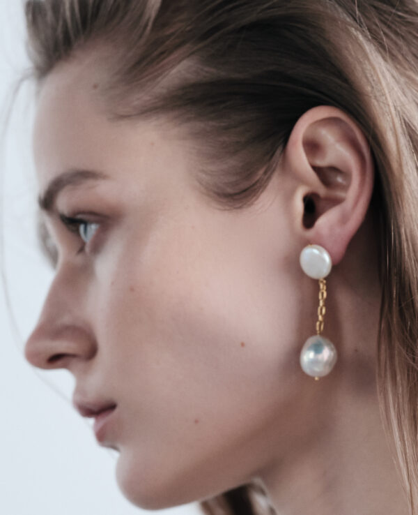 EDITH BAROQUE EARRINGS IN CULTURED PEARLS WITH 14K YELLOW GOLD
